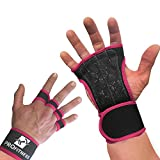 ProFitness Neoprene Workout Gloves with Silicone Non-Slip Grip – WODs, Weightlifting, Cross Training – Wrist Strap Support – Unisex for Men and Women (Pink, Large)