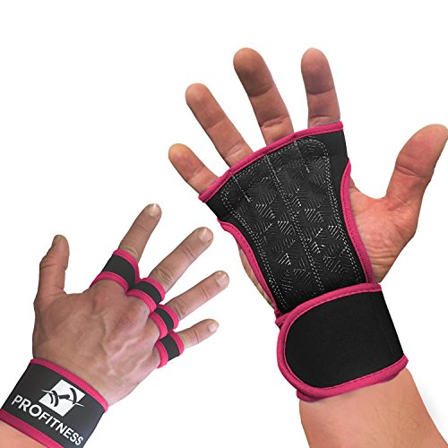 ProFitness Neoprene Workout Gloves with Silicone Non-Slip Grip - WODs, Weightlifting, Cross Training - Wrist Strap Support - Unisex for Men and Women (Pink, Small)