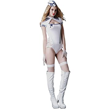 Just See You Women s Sexy Lingerie Cosplay Stewardess Uniform Temptation  Bodysuit White Navy Outfits 4 Pieces Set with Stockings  Amazon.co.uk   Health ... 106448515