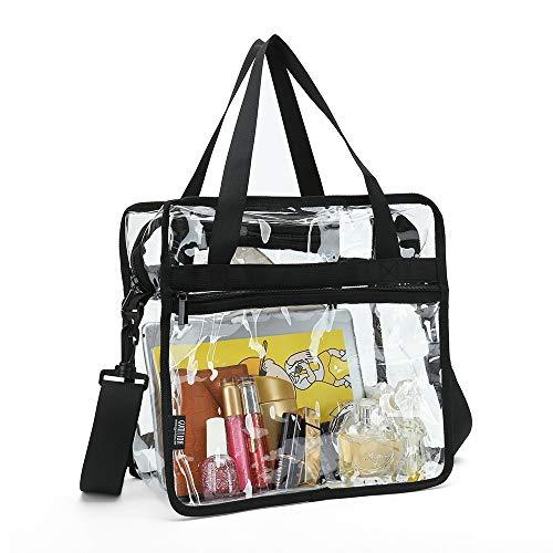 Bolsa transparente con bolsillos con cremallera y correa para el hombro desmontable