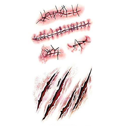Halloween Masquerade Prank Horror Realistic Fake Bloody Wound Stitch Scar Scab Waterproof Temporary Tattoo Sticker Makeup Props -