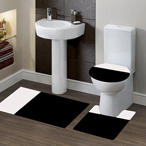 GorgeousHomeLinen (#7) Elegant New Style Bathroom Set 1 Bath Contour Mat 1 Rug 1 Toilet Lid Cover in Many Color Combination 2 Shade Non-Slip (2tone BLACK/WHITE) - White Bathroom Rug Sets 3 Piece