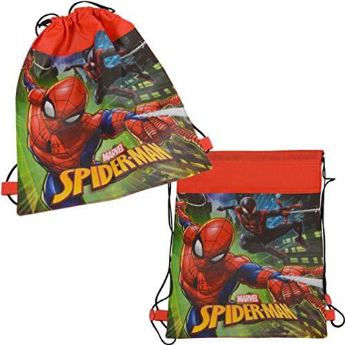 Disney Marvel Spider-Man 14-inch Sling Bags Drawstring Cinch Sack Totes, 6-Pack ()