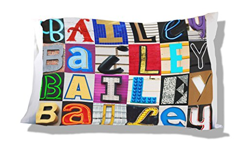 Personalized Pillowcase featuring BAILEY in photos of sign letters