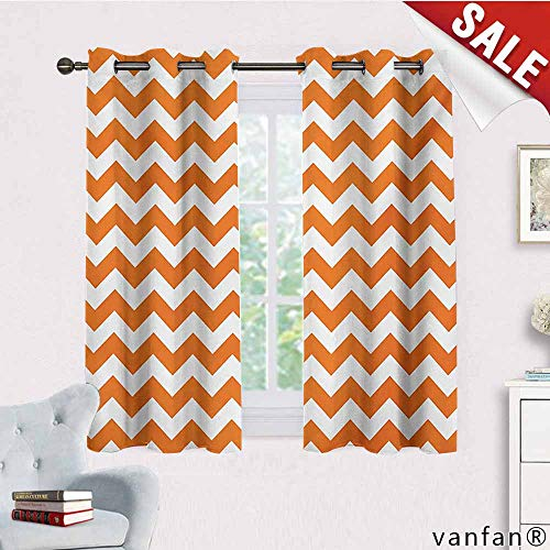 Big datastore Exclusive Home Curtains,Chevron,Halloween Pumpkin Color Chevron Traditional Holidays Autumn Season Celebrate,with Grommet Top,Orange White,W55 Xl45