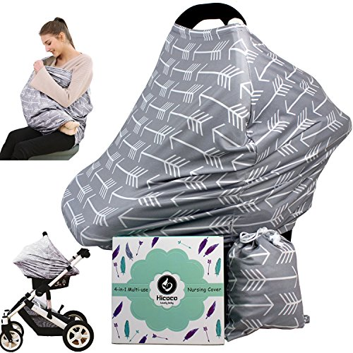 Car seat Canopy Nursing Cover - Multi use Baby Stroller and carseat Cover, Breastfeeding Nursing Covers, Boys and Girls Shower Gifts (Classical Arrows) from Hicoco