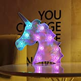 Unicorn Marquee Sign Decorative Night Lights Table Wall Lamps for Kids' Room, Home Party Wedding Birthday Decor & Gifts (Magical Blue Laser Unicorn - Diamond Glow Color Changing)