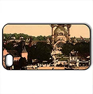 Citiscapes and castles - Case Cover for iPhone 4 and 4s (Amusement Parks Series, Watercolor style, Black)