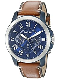 Fossil Men's FS5151 Grant Chronograph Stainless Steel Watch With Light Brown Leather Band