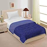 JaipurCrafts 220 TC Blue Polka Dots Reversible Poly Cotton AC Comfort/Blanket/Quilt (Single Bed)