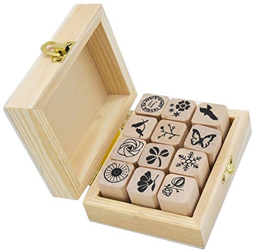 Youkwer 12 Pcs Mini Cute Wooden Rubber Stamps DIY Diary Stamps Set with Wooden Box ()