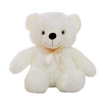 Augneveres Bears - Oso de Peluche con luz LED para niños, Blanco, 50cm: Amazon.es: Hogar