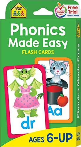 (School Zone - Phonics Made Easy Flash Cards - Ages 6 and Up, Preschool to Second Grade, Short Vowels, Long Vowels, Word-Picture Recognition, and More)