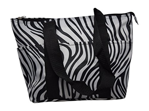Toddler Fold N-lock Storage (Large Reusable Zippered Top Insulated Lunch Bag (Zebra Print))