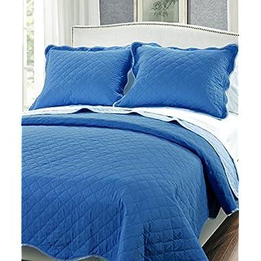 Serenta 3 Piece Solid Reversible Microfiber Quilts Set, Queen, Blue