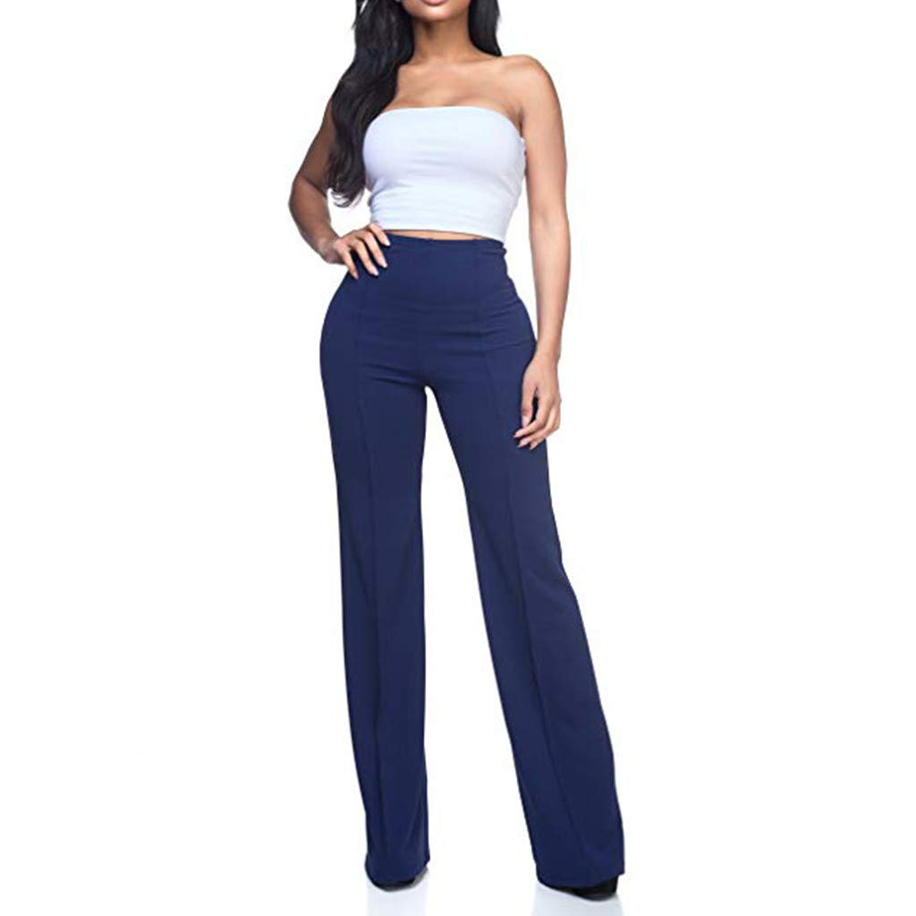 HHoo88 Womens Slim Boot Cut Stretch Pants High Waist Pants Solid Loose Wide Long Trousers Flowing Palazzo Pants