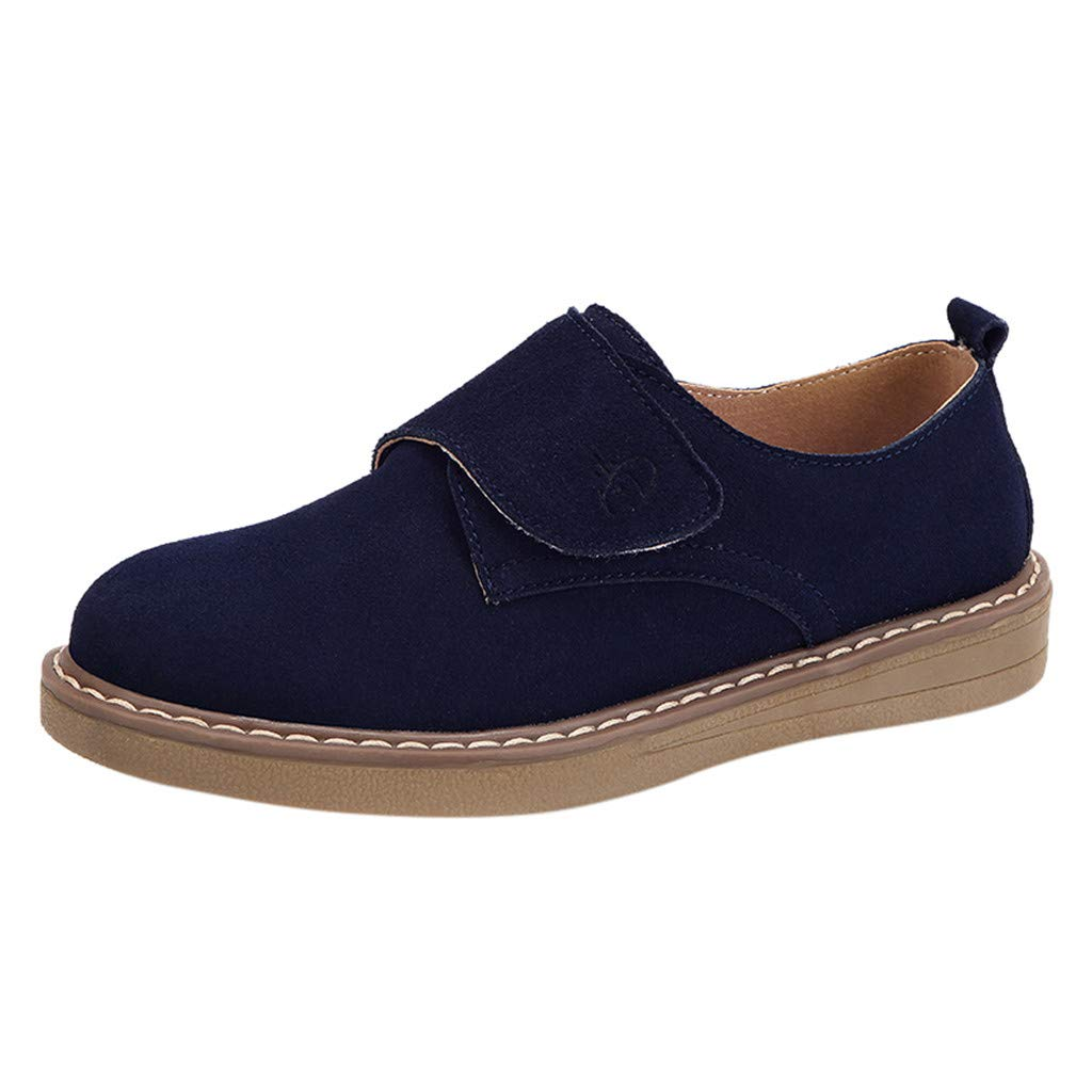 【MOHOLL】 Round Toe Ballet Flat Slip On Shoes Suede Jobs Single Shoes Leisure Leather Shoes Blue by ✪ MOHOLL Shoes ➤Clearance Sales