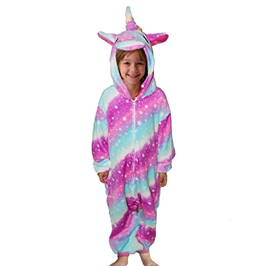 bd870f3be2 Maticr Flannel Rainbow Unicorn Hooded Pajamas PJS Onesies Costume Outfit  for Kids (  85