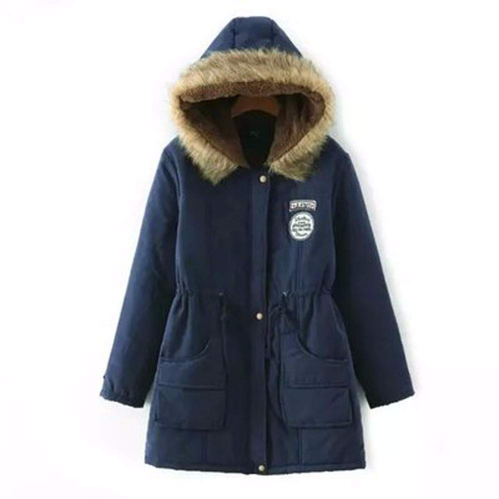 Coupondeal Womens Warm Long Coat Fur Collar Hooded Jacket Slim Winter Parka Outwear Coats(Navy,XXXL) by Coupondeal