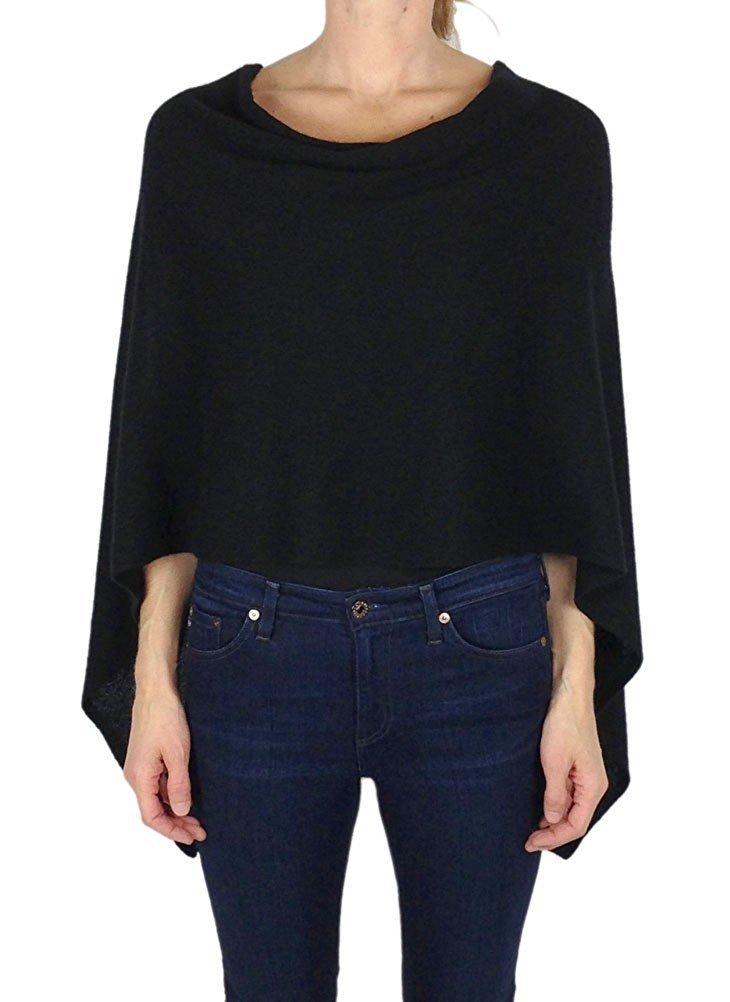 Alashan Cashmere Claudia Nichole Cashmere Draped Dress Topper - Black