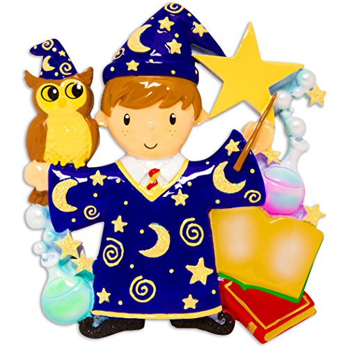Personalized Wizard Boy Christmas Tree Ornament 2019 - Fictional Witchcraft Wizardry Costume Owl Magic Wand Star Books Hogwarts Harry Best Toddler Potter Cartoon Toy Gift Year - Free Customization