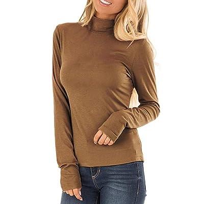 Fitfulvan Women's Turtleneck Slim Long Sleeve Top Fashion Solid Color Elegant Pullover: Clothing