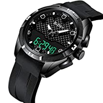 Watch,Mens Watches Digital Multifunction Military Waterproof LED Calendar Leather Analog Wrist Watch
