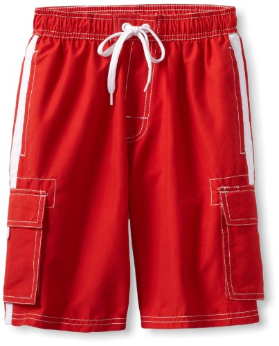 Kanu Surf Big Boys' Barracuda Swim Trunk, Red, Medium (10/12) ()