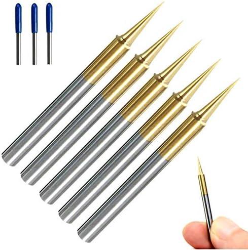 GENERICS LSB-Werkzeuge, 5pcs 0.1mm 15 Grad titannitriert HM-Schaftfräser Gravurkantenschneider CNC-Fräser Schaftfräser for PCB-Maschine (Größe : 5pcs 0.1mm)