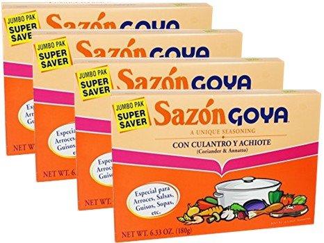 Goya sazon with coriander and annatto. Jumbo 6.33 oz box. Pack of 4 boxes