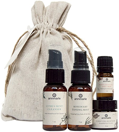 (Annmarie Skin Care Purify Travel Kit - Oily Skin Care Set with Cleanser, Toning Mist, Facial Oil + Mud Mask (4 Piece Kit) )