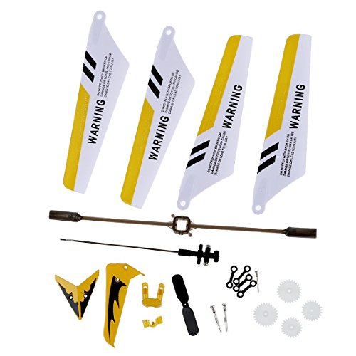 (DierCosy Full Replacement Parts Set for Syma S107 / S107G RC Helicopter, Main Blades,Tail Decorations,Tail Blade,Balance Bar,Connect Buckle, Inner Shaft. Yellow Set-)