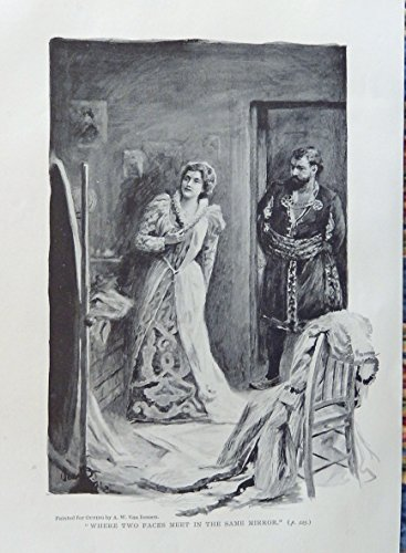 A.W. Van Deusen,1896 rare antique painting (Where two faces meet in the same mirror) oringial antique print art