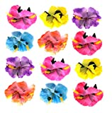 yellow hibiscus hair clip - Flower Hair Clips For Tropical And Hawaiian Themed Parties (12 Pack)