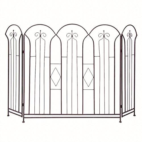 (DG Home Goods 3 Panel Metal Fireplace Screen Folding Doors Bronze Finish Hearth Cover Antique)
