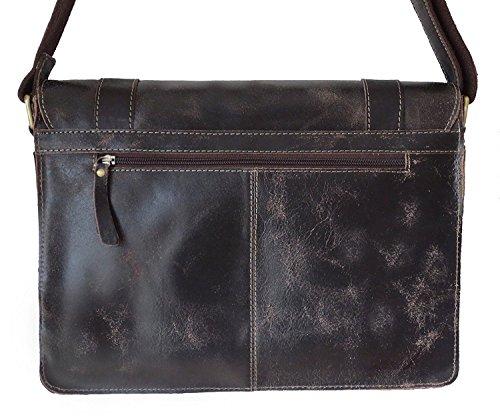 Rowallan  ROWALLAN Brown Leather, satchel, briefcase, Shoulder Bag, Borsa Messenger  Unisex adulti marrone Brown