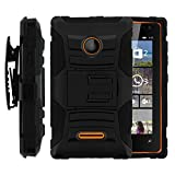 Microsoft Lumia 435 Case, Microsoft Lumia 435 Holster, Two Layer Hybrid Armor Hard Cover with Built in Kickstand and Unique Graphic Images for Microsoft Lumia 435 (T Mobile) from MINITURTLE | Includes Screen Protector - Black