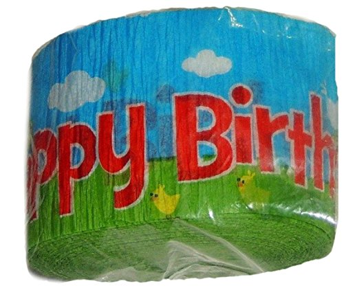 """[Single Pack] Crepe Paper Streamer Roll""""Barnyard Farm + Animals Design"""" for Decoration and Craft Supply with 30 Ft / 9.1 M Length {Red, Blue, Green, and Yellow Colors)"""