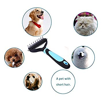 Tangles Mats and Knots Happy /& Polly Dematting Tool for Dogs Undercoat Rake Dematting Comb Pet Grooming Comb with Round Blades for Removing Loose Undercoat