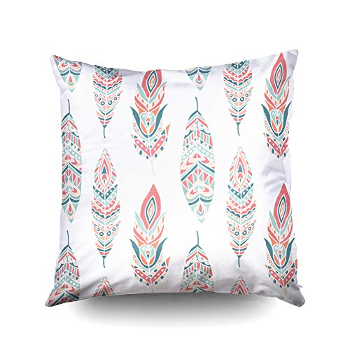 (Bed Pillow Covers,Seamless Pattern with Ethnic Feathers hand drawn vector illustration can be used for wallpaper web page background greeting cards fabric printCapsceoll 18x18 Inch Home Decoration Pil )