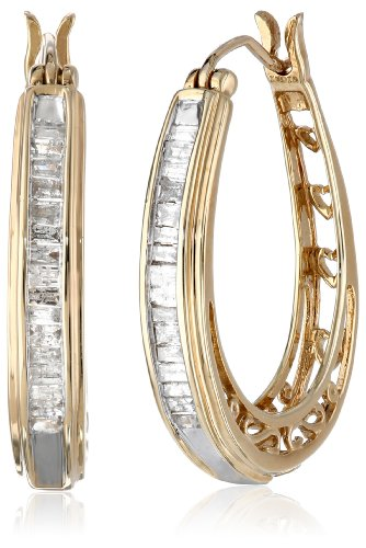 10K Yellow Gold Diamond Hoop Earrings (1/2 cttw) by Amazon Collection