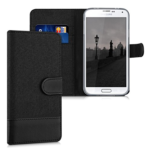 kwmobile Wallet Case for Samsung Galaxy S5 / S5 Neo - Fabric and PU Leather Flip Cover with Card Slots and Stand - Anthracite/Black (Purse Case For Samsung Galaxy S5)