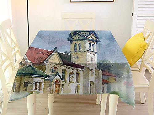 L'sWOW Banquet Square Tablecloth Vintage Medieval Landscape with Old Village Building in Rural Country Watercolor Artwork Multicolor Fitted 60 x 60 Inch]()
