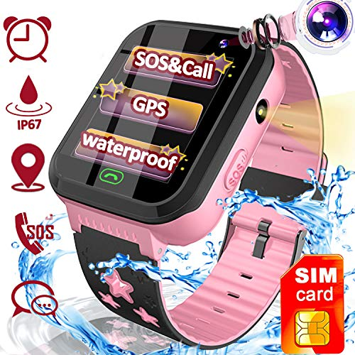 Kids Smart Watch GPS Tracker, Waterproof Smartwatch Phone with SIM CARD for Age 3-12 Boys Girls- Anti-Lost SOS Call Touch Toddler Electronic Wrist Watch Toys Game Holiday Xmas Birthday Gifts
