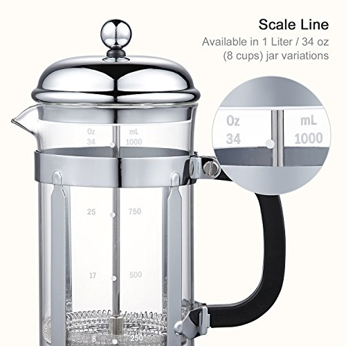 Bonsenkitchen French Press Coffee & Tea Maker, 8 Cup/32 oz, 304 Stainless-Steel Lid, Presser and Frame, Heat Resistant Borosilicate Glass Pot, (CP8871) by Bonsenkitchen (Image #1)