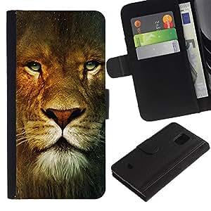 Billetera de Cuero Caso Titular de la tarjeta Carcasa Funda para Samsung Galaxy S5 Mini, SM-G800, NOT S5 REGULAR! / Lion Portrait Green Eyes Wild Big Cat Africa / STRONG