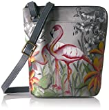 Anuschka Handpainted Leather Two Sided Zip Travel Organizer, Flamboyant Flamingos