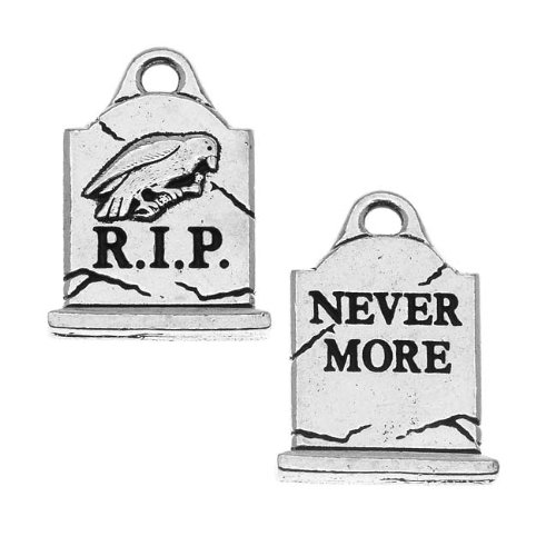 TierraCast Antiqued Silver Lead-Free Charm - Grave Stone Halloween 20.5mm (2)
