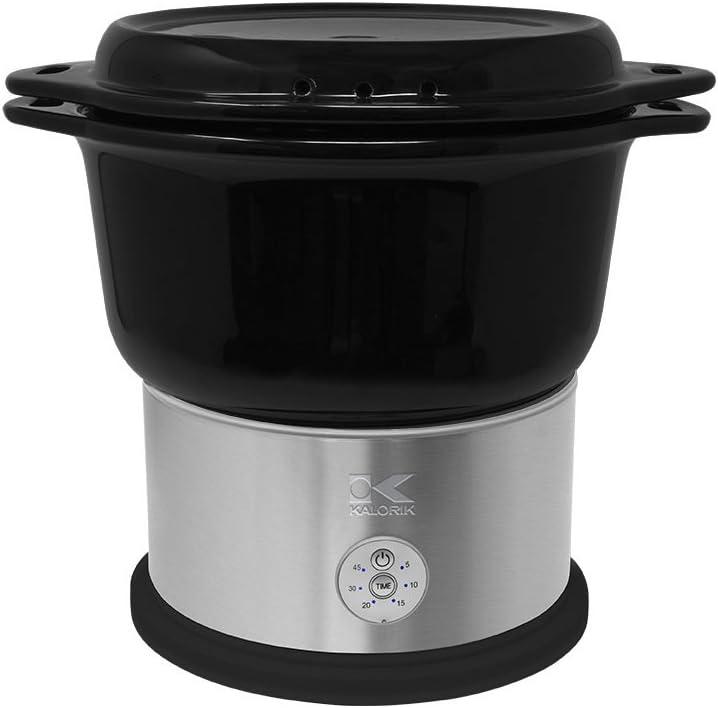 Kalorik All Natural BPA Free Ceramic Food Steamer, DG 44815 BK, Prepare Healthy Meals with Smart Digital One-touch Control, 4.5 Liter, Black
