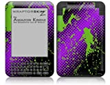Halftone Splatter Green Purple - Decal Style Skin fits Amazon Kindle 3 Keyboard (with 6 inch display)
